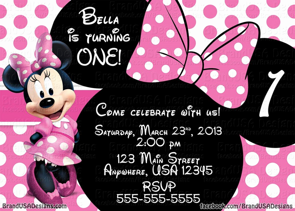 Minnie Mouse Invitation Template New Minnie Mouse Pink Birthday Invitations