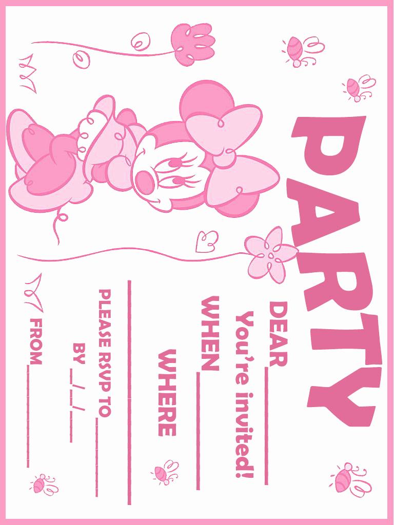 Minnie Mouse Invitation Template Unique Printable Minnie Mouse Birthday Invitations – Free