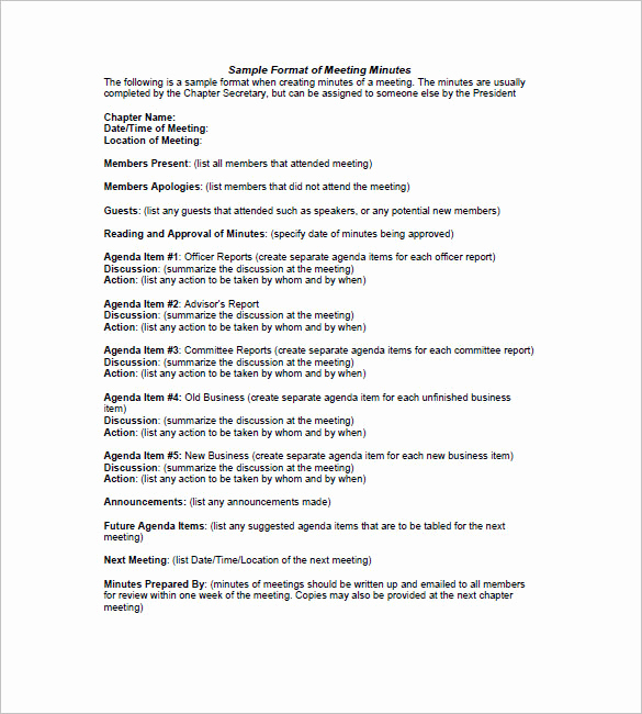 Minutes Of Meeting format Best Of 27 Sample Minutes Of Meeting Templates Doc Pdf