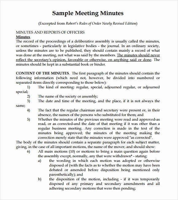 Minutes Of Meeting Sample Best Of Sample Meeting Summary Template 7 Documents In Pdf