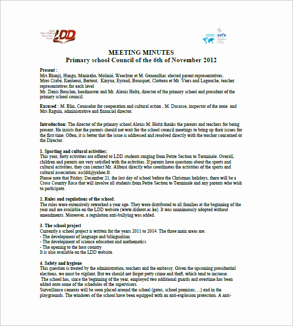 Minutes Of Meeting Sample Elegant 18 School Meeting Minutes Templates Pdf Doc