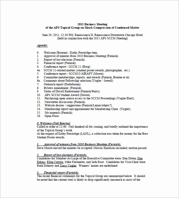 Minutes Of Meeting Sample Fresh Business Meeting Minutes Template 12 Free Sample
