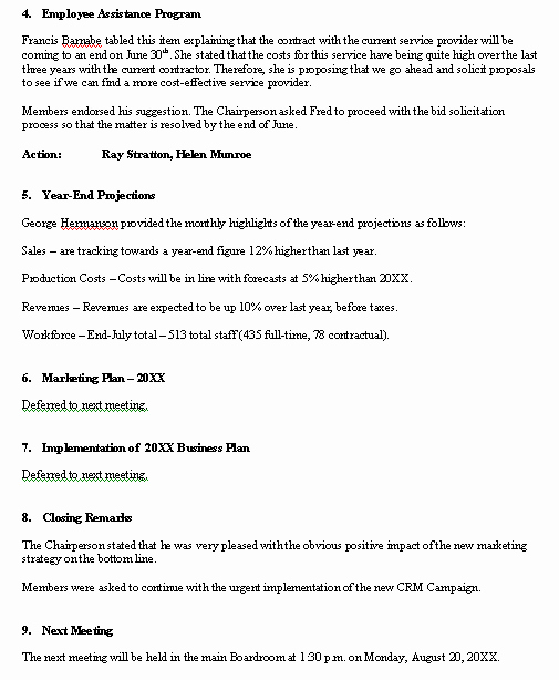 Minutes Of Meeting Sample Fresh Meeting Minutes Sample format for A Typical Meeting