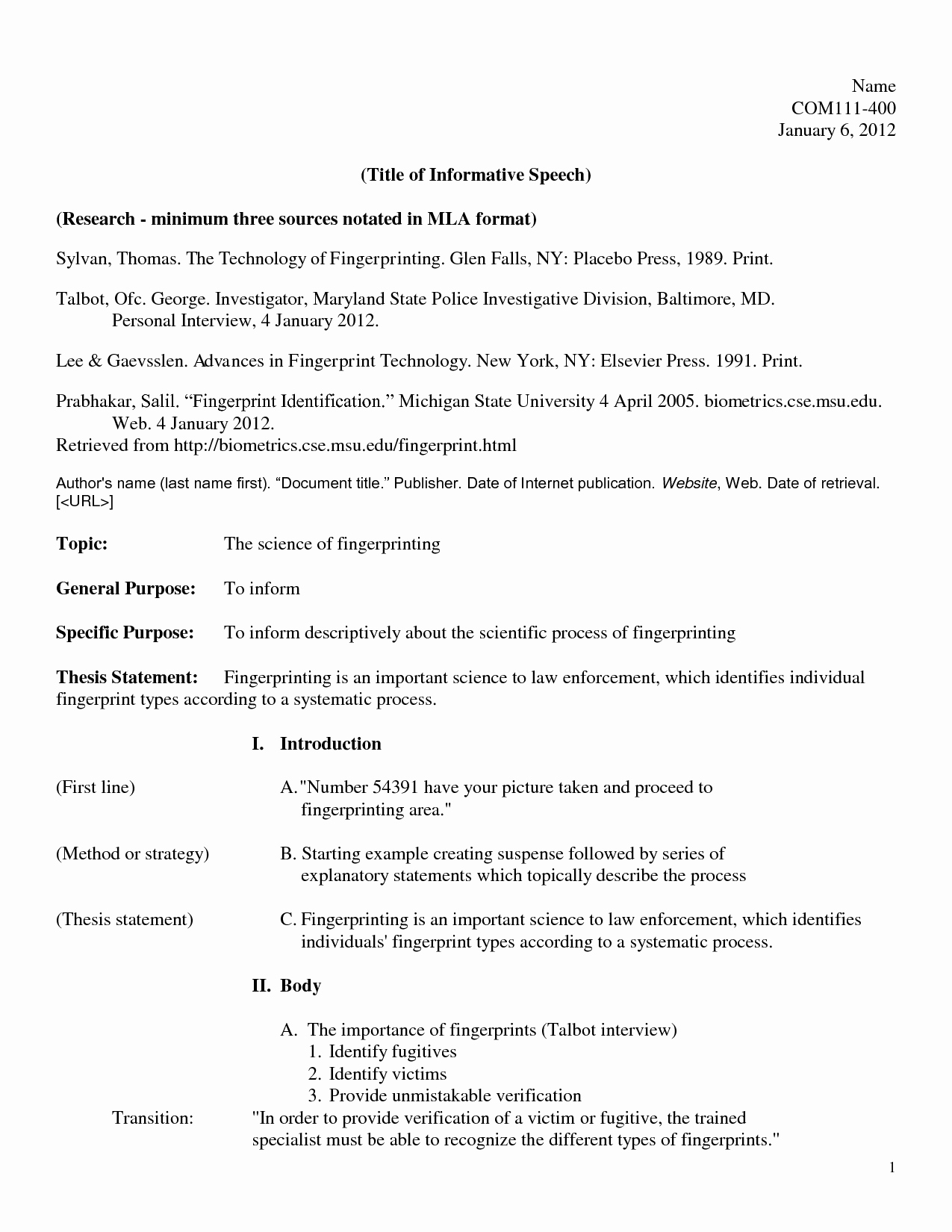 Mla format Outline Template Awesome Mla format Speech Outline Sample Mla Outline 2019 01 28