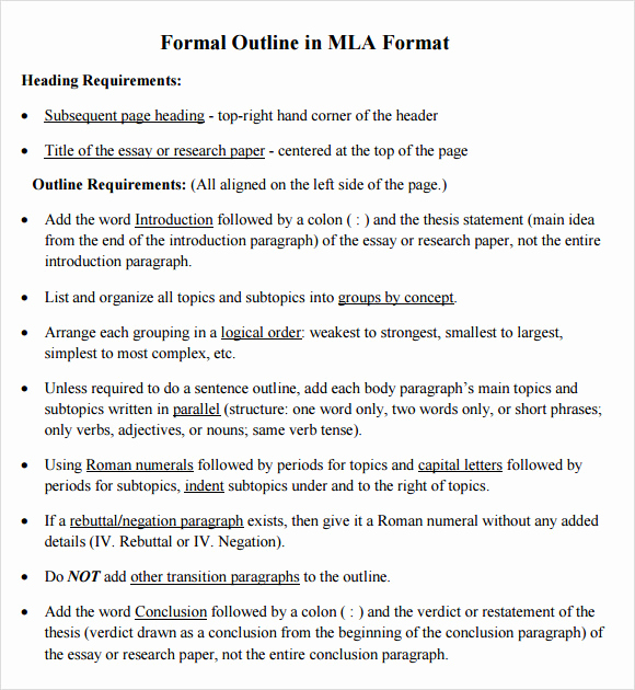 Mla format Outline Template Best Of 11 Sample Mla Outline Templates Pdf Word