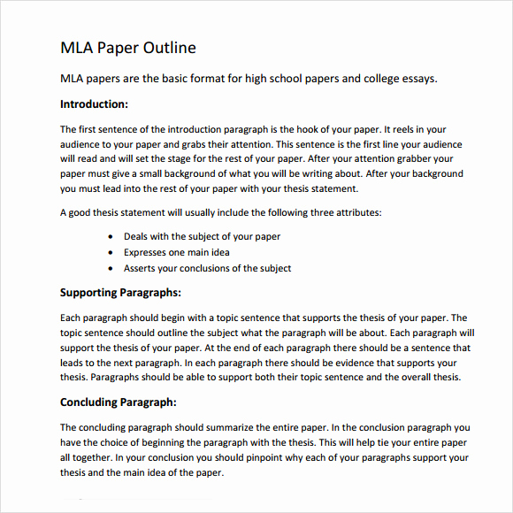 Mla format Outline Template Elegant Mla Outline Template 11 Download Free Documents In Pdf