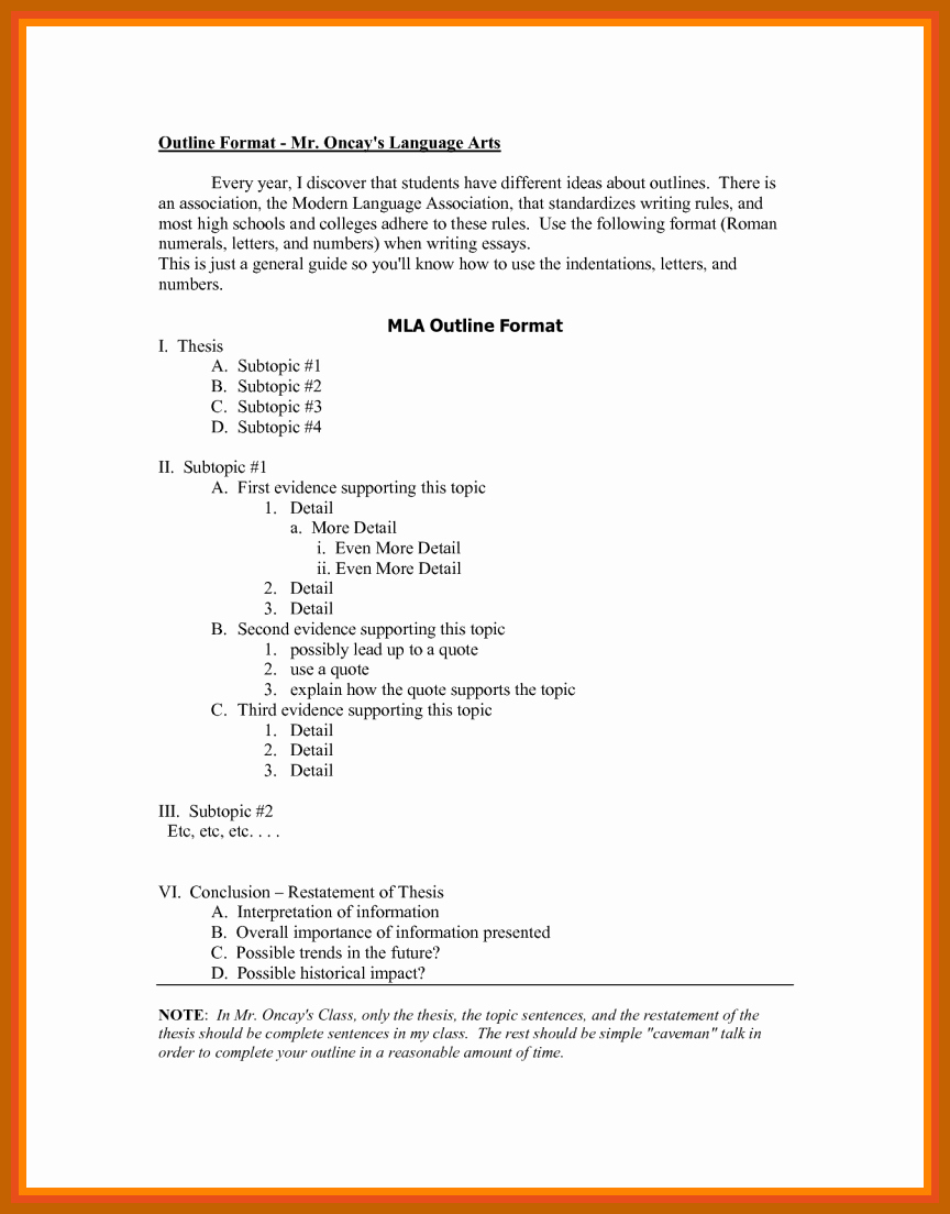 Mla format Outline Template Unique 7 8 Outline In Mla format