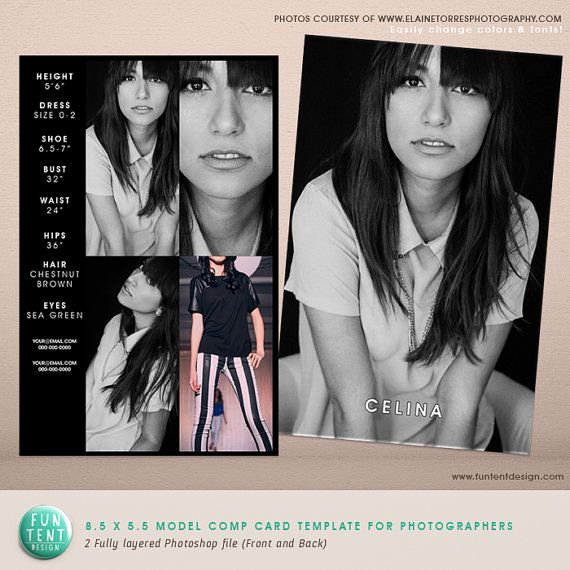Model Comp Card Template Awesome Model P Card 8 5x5 5 Fashion Profile Template Instant