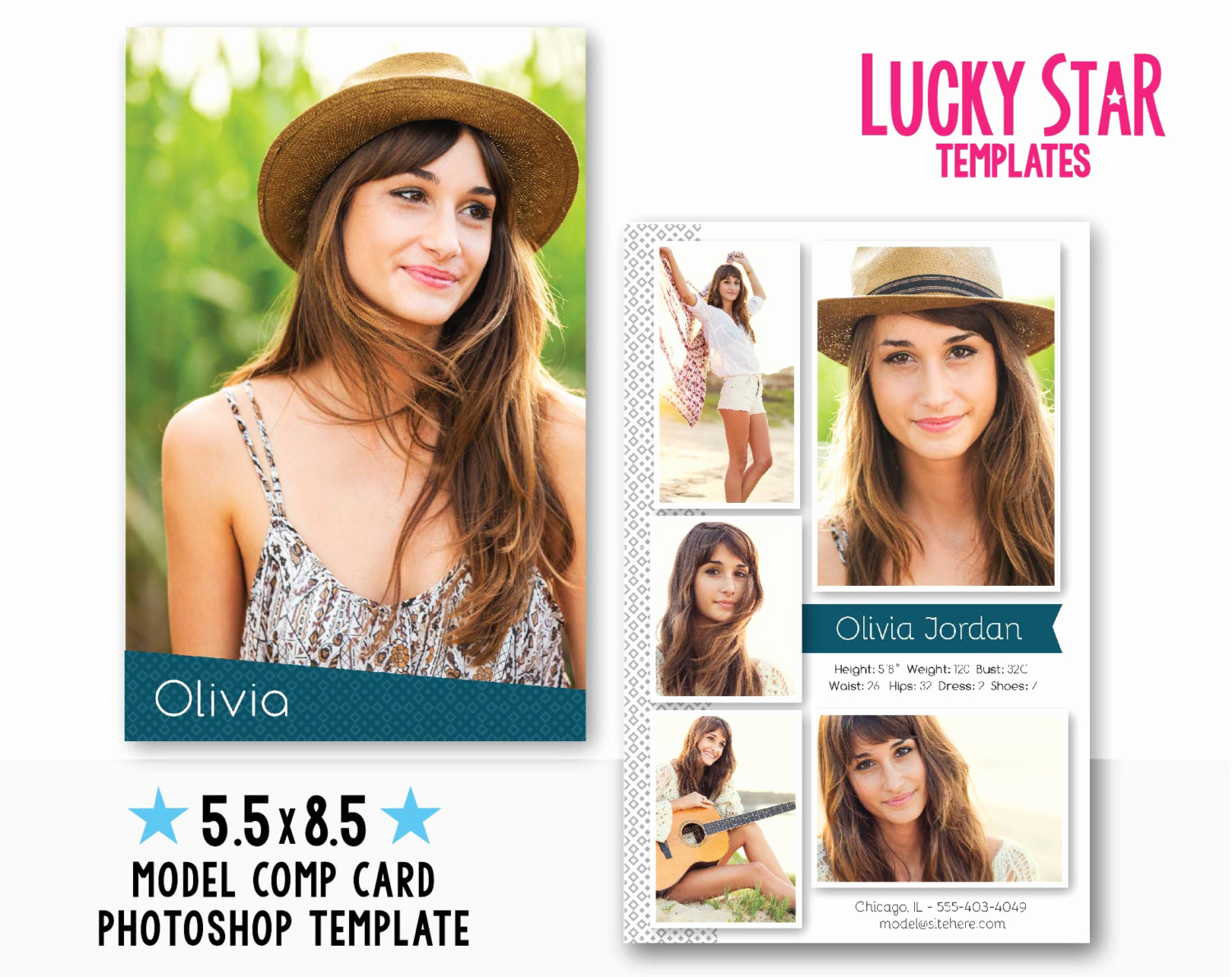 Model Comp Card Template Elegant Customizable Model P Card Fresh Face Instant Download
