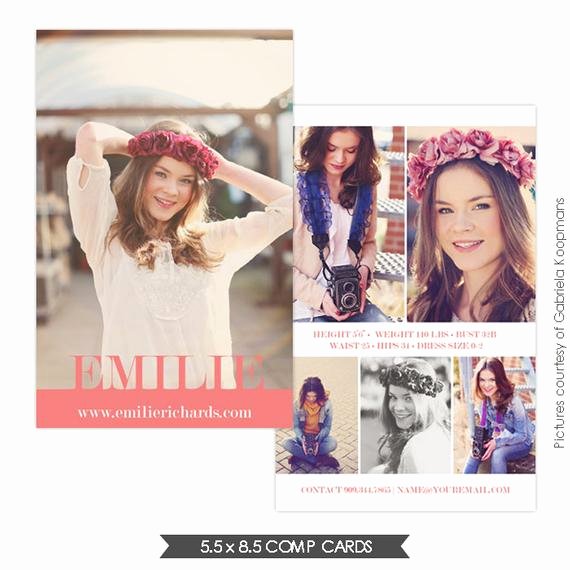 Model Comp Card Template Elegant Instant Download Modeling P Card Shop Templates