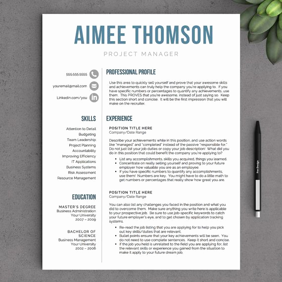 Modern Resume Template Word New Modern Resume Template for Word 1 and 2 Page Resume