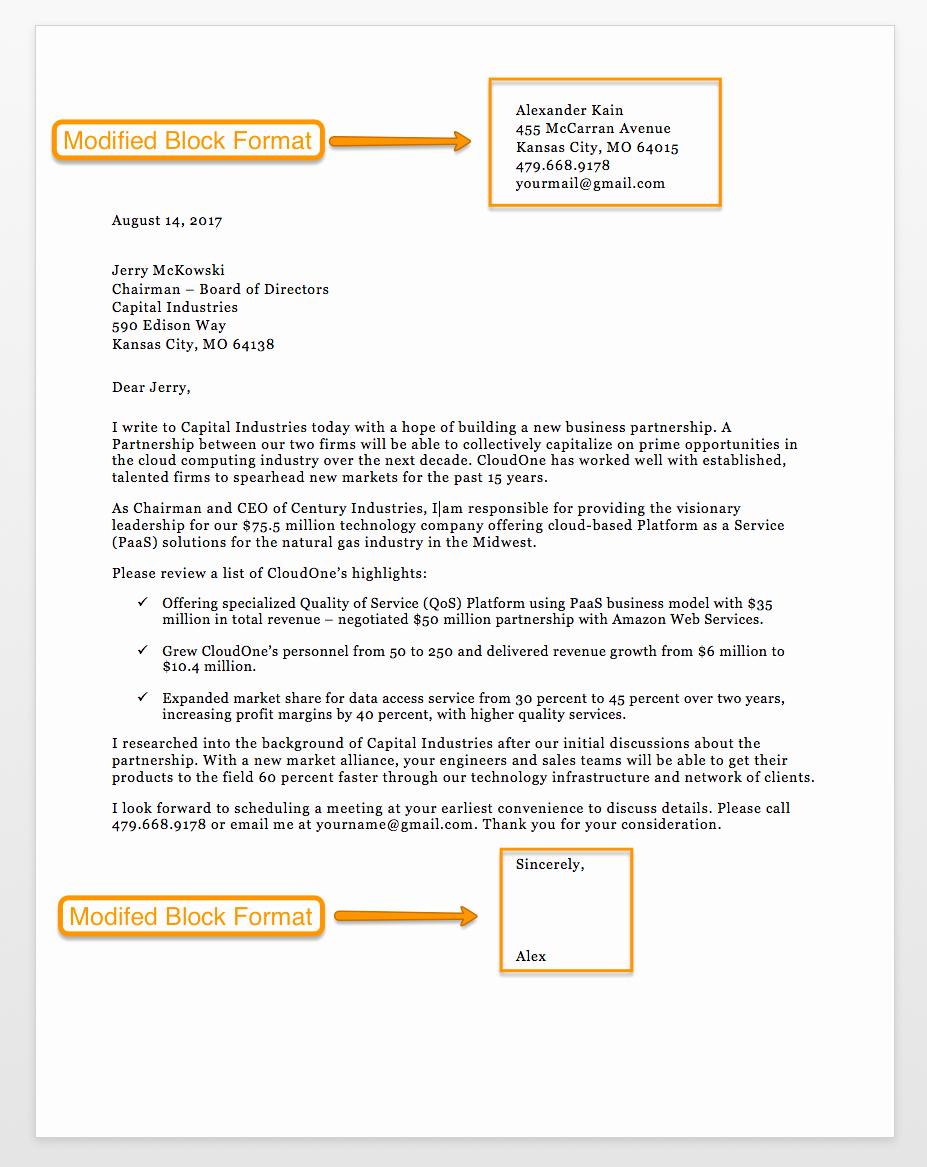Modified Block Letter format Unique Sample Business Letter format 75 Free Letter Templates