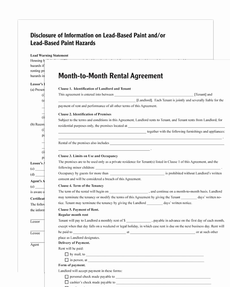 Month to Month Lease form Awesome Month to Month Rental Agreement forms and Instructions