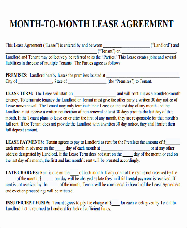 Month to Month Lease form Beautiful 7 Sample Roommate Rental Agreement form Examples In