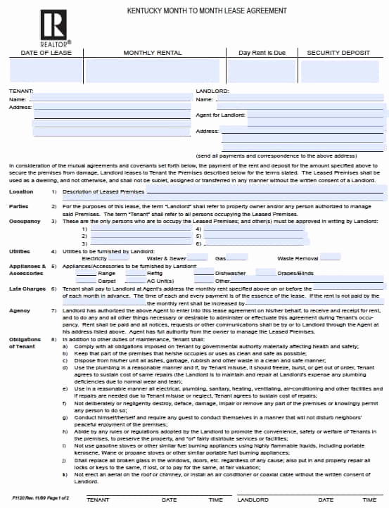 Month to Month Lease form Fresh Free Kentucky Month to Month Rental Agreement – Pdf Template