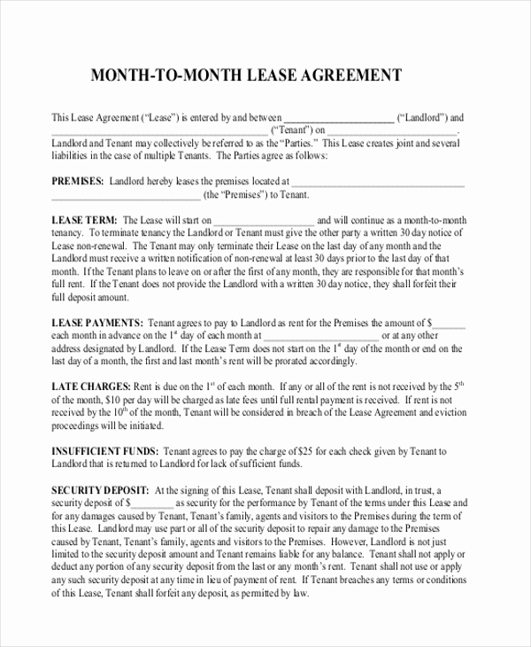 Month to Month Lease form New Sample Month to Month Lease Agreement form 8 Free