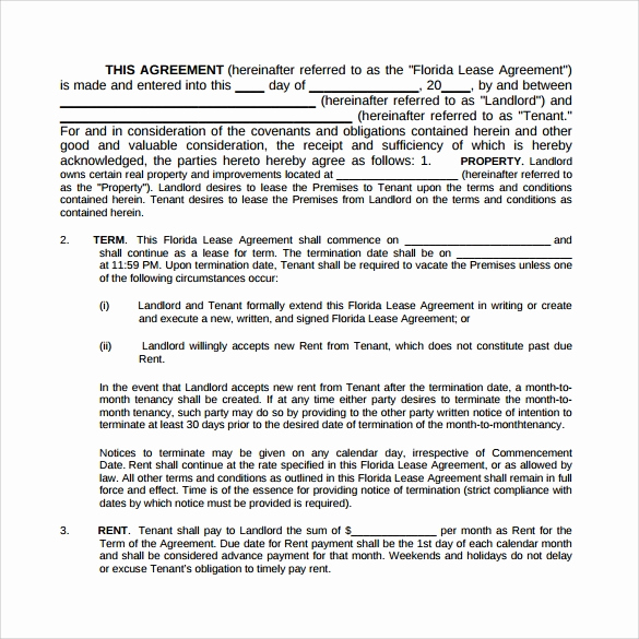 Month to Month Lease Template New 8 Month to Month Lease Agreement Templates – Samples