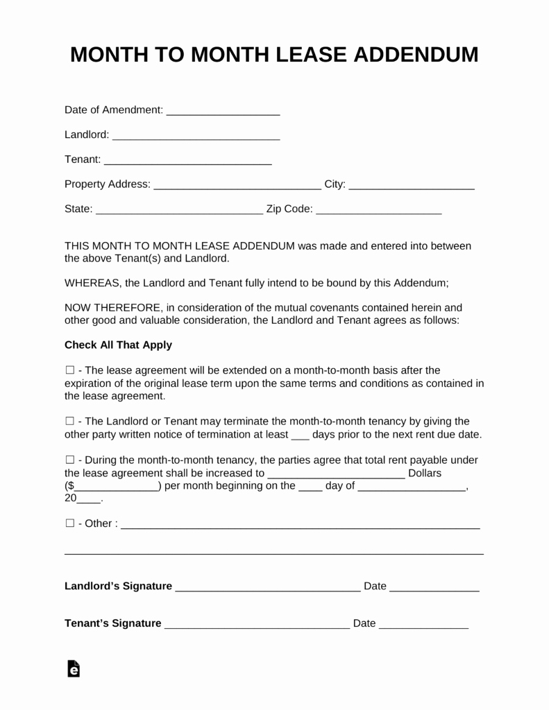 Month to Month Lease Template New Free Month to Month Lease Addendum Template Pdf