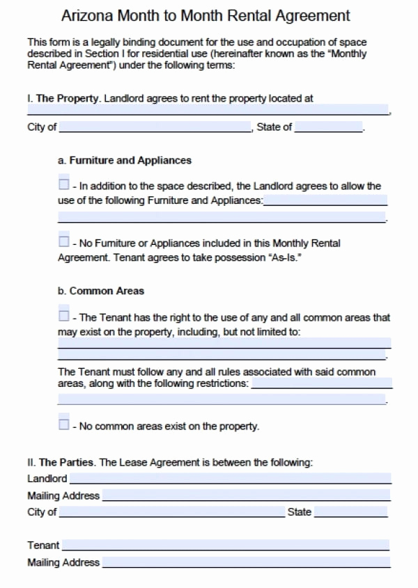 Month to Month Lease Template Unique Free Arizona Month to Month Rental Agreement Pdf