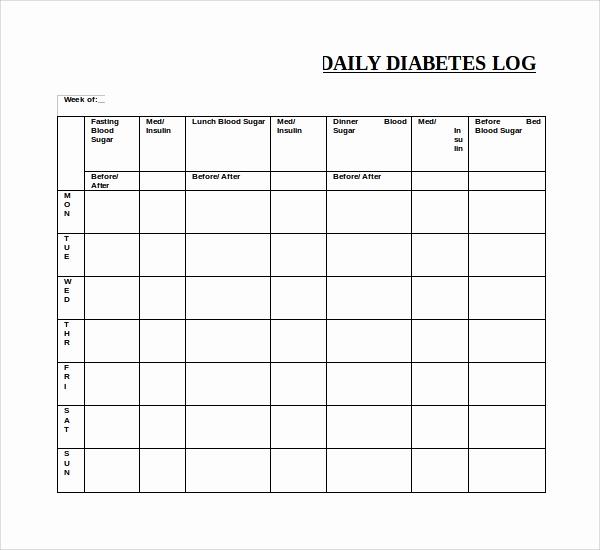 Monthly Blood Sugar Log Unique Diabetic Testing Log Template Idealstalist
