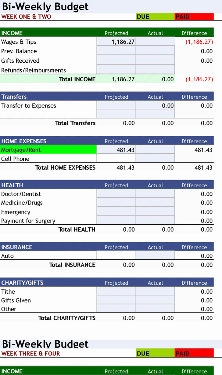 Monthly Budget Excel Spreadsheet Template Best Of Free Download ° Bi Weekly Personal Bud ° Excel
