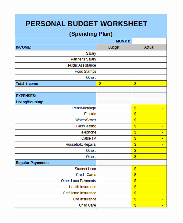 Monthly Budget Excel Template Fresh Free Personal Bud Template 9 Free Excel Pdf