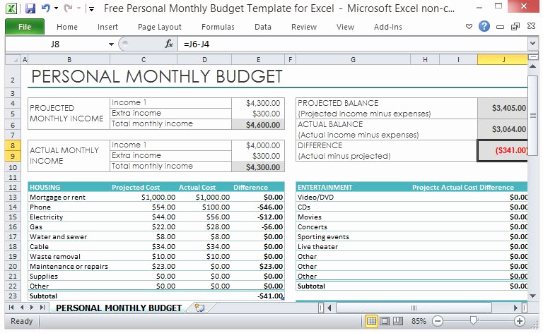 Monthly Budget Template Excel Awesome Free Personal Monthly Bud Template for Excel