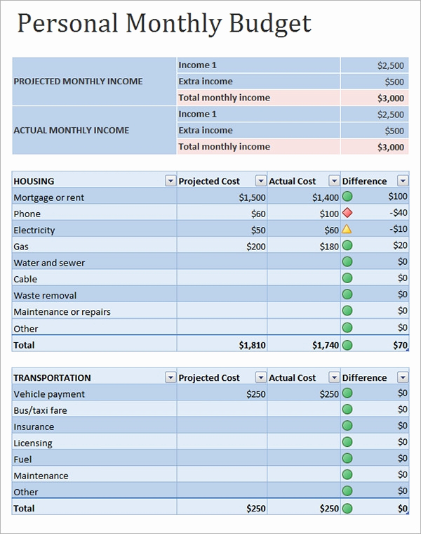 Monthly Budget Template Excel Beautiful Personal Bud Sample 12 Documents In Pdf Word Excel