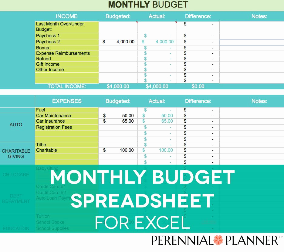 Monthly Budget Worksheet Excel Awesome Monthly Bud Spreadsheet Household Money Tracker