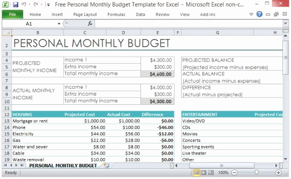 Monthly Budget Worksheet Excel Inspirational Free Personal Monthly Bud Template for Excel