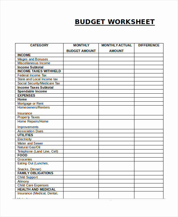 Monthly Budget Worksheet Pdf Beautiful 14 Printable Bud Worksheet Templates Word Pdf