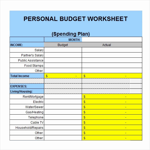Monthly Budget Worksheet Pdf Beautiful 6 Personal Bud Samples