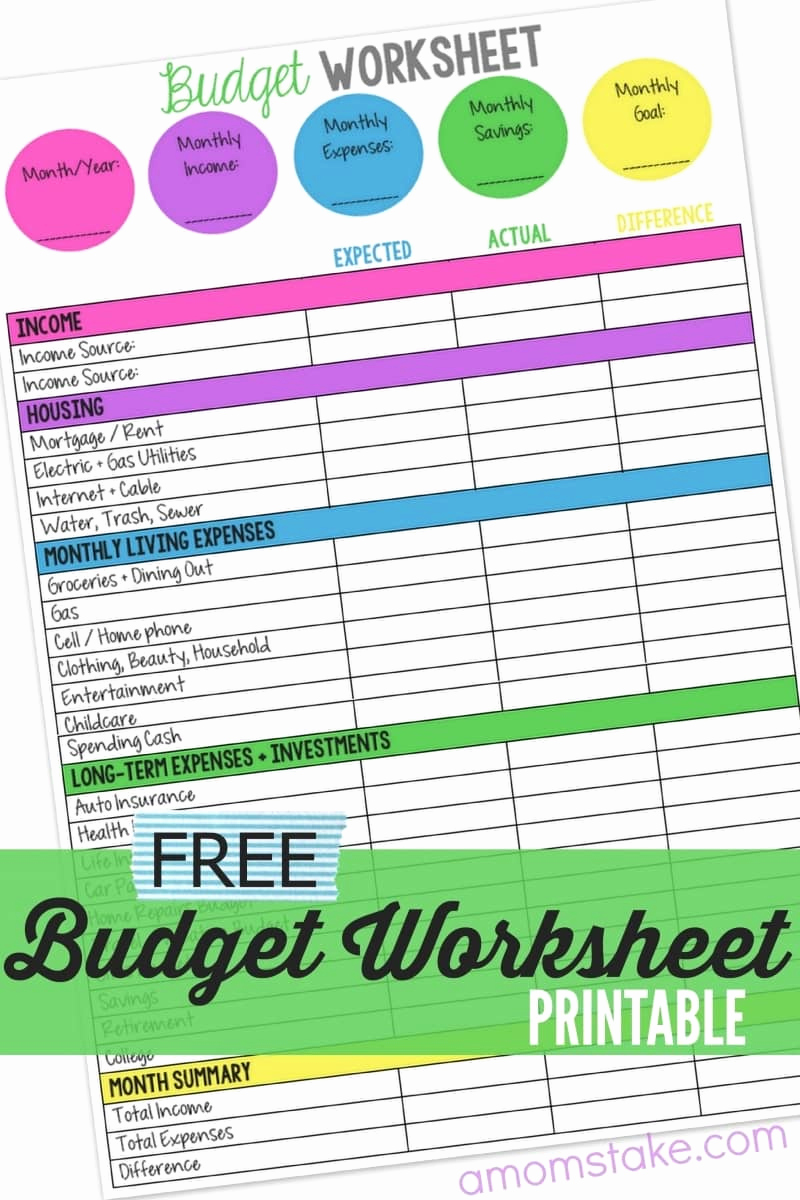 Monthly Budget Worksheet Pdf Inspirational Family Bud Worksheet A Mom S Take