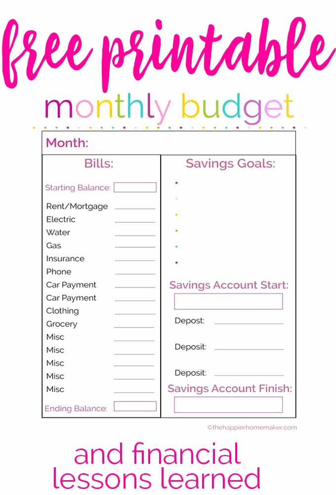 Monthly Budget Worksheet Pdf Lovely Free Printable Monthly Bud Worksheet and Learning