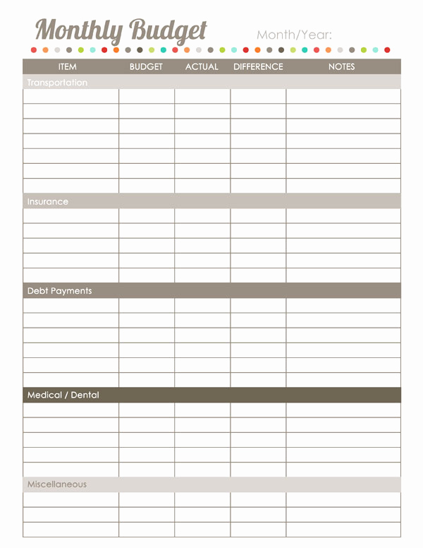 Monthly Budget Worksheet Pdf Luxury Home Finance Printables the Harmonized House Project