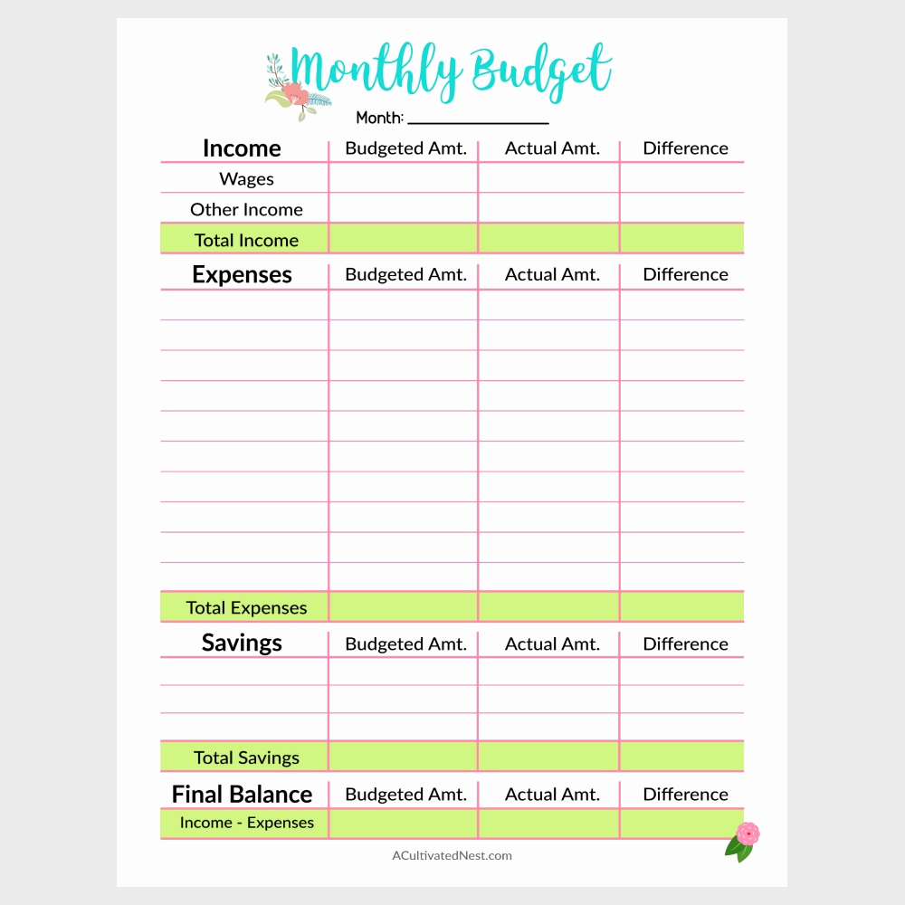 Monthly Budget Worksheet Printable Awesome Printable Monthly Bud Template A Cultivated Nest