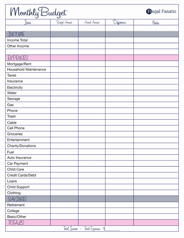 Monthly Budget Worksheet Printable Fresh Free Monthly Bud Template Frugal Fanatic