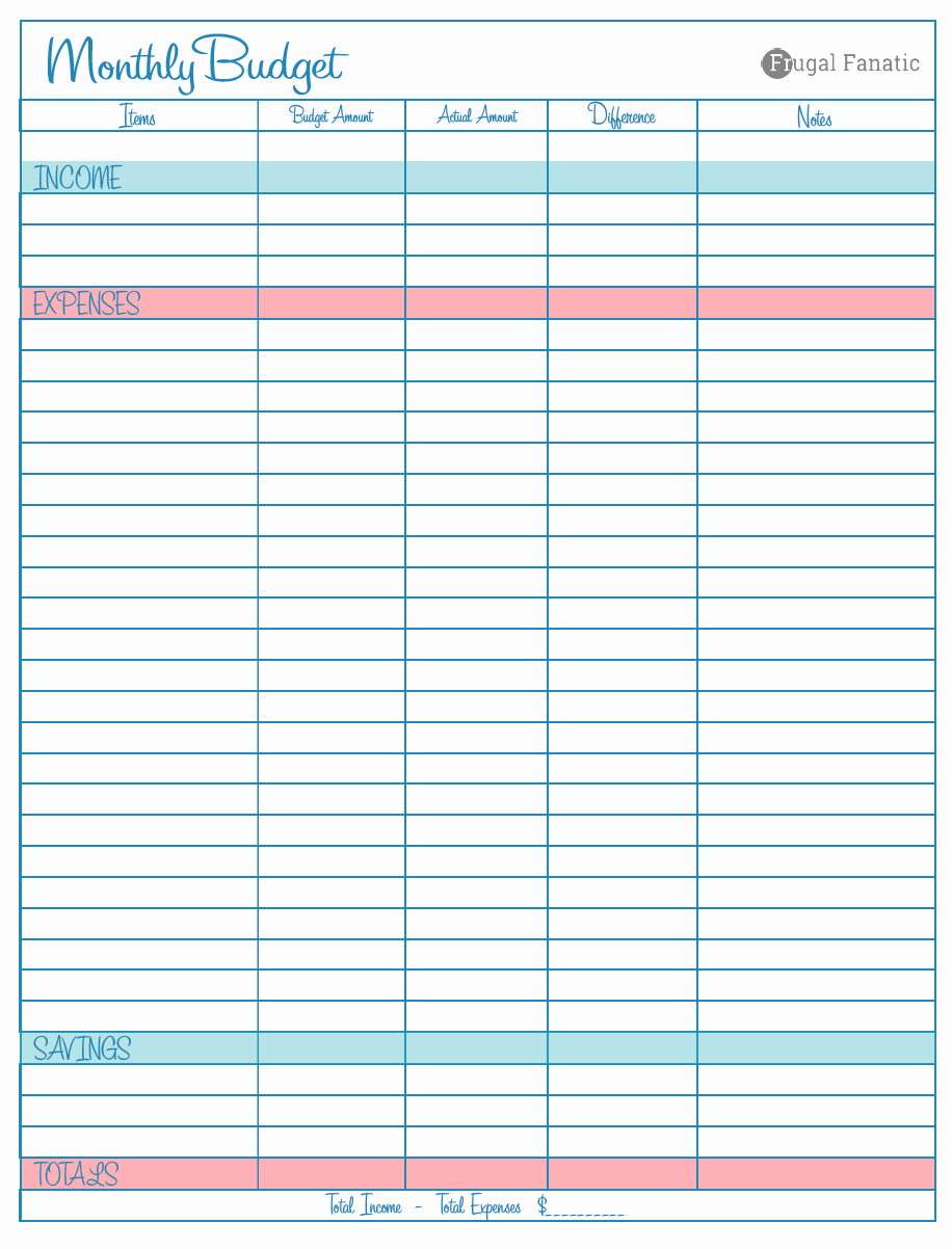 Monthly Budget Worksheet Printable New Blank Monthly Bud Worksheet Frugal Fanatic