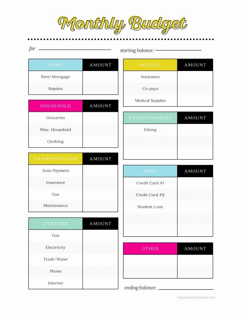 Monthly Budget Worksheet Printable New Free Printable Bud Worksheet