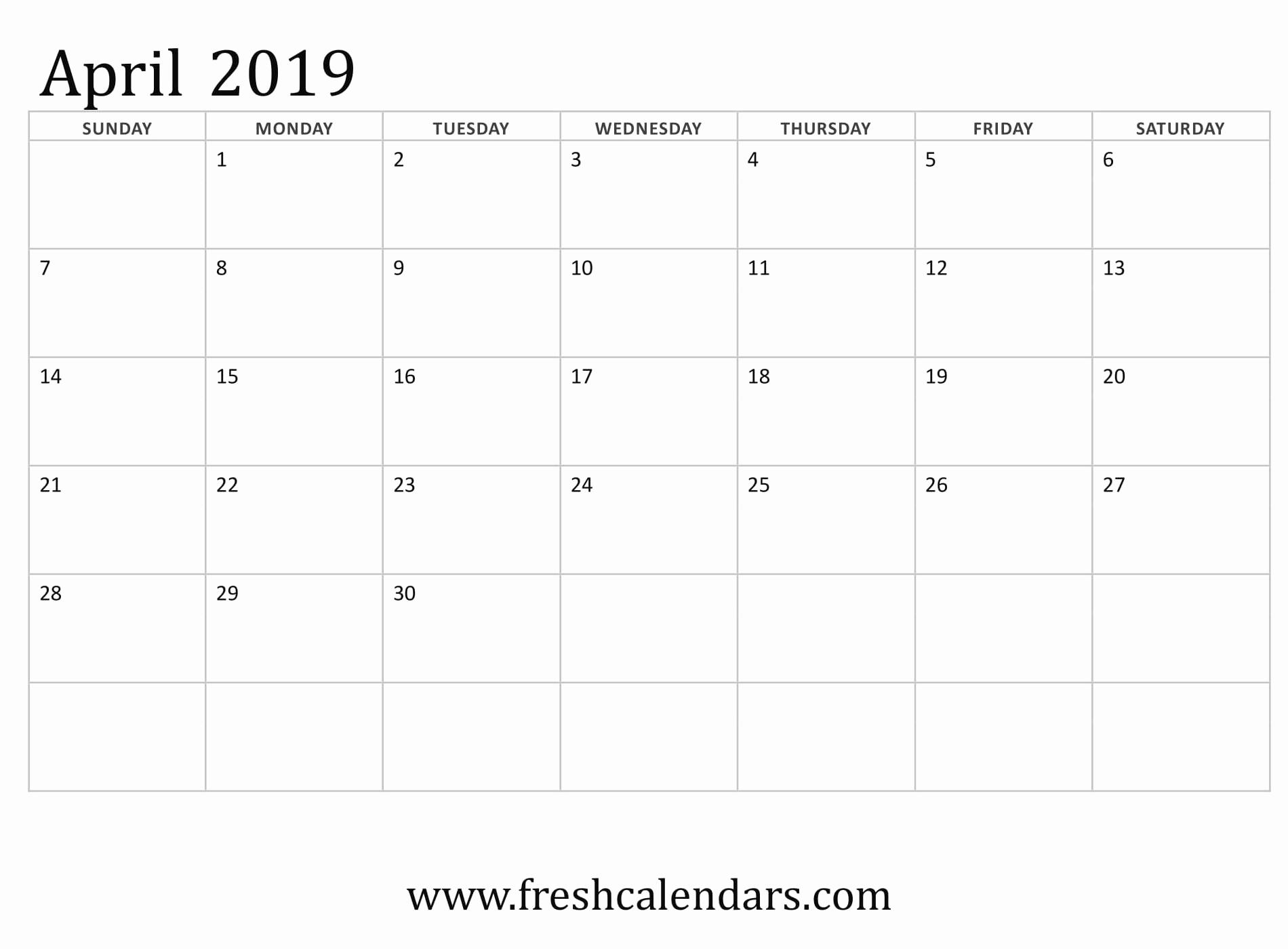 Monthly Calendar Template 2019 Awesome April 2019 Calendar Printable Fresh Calendars