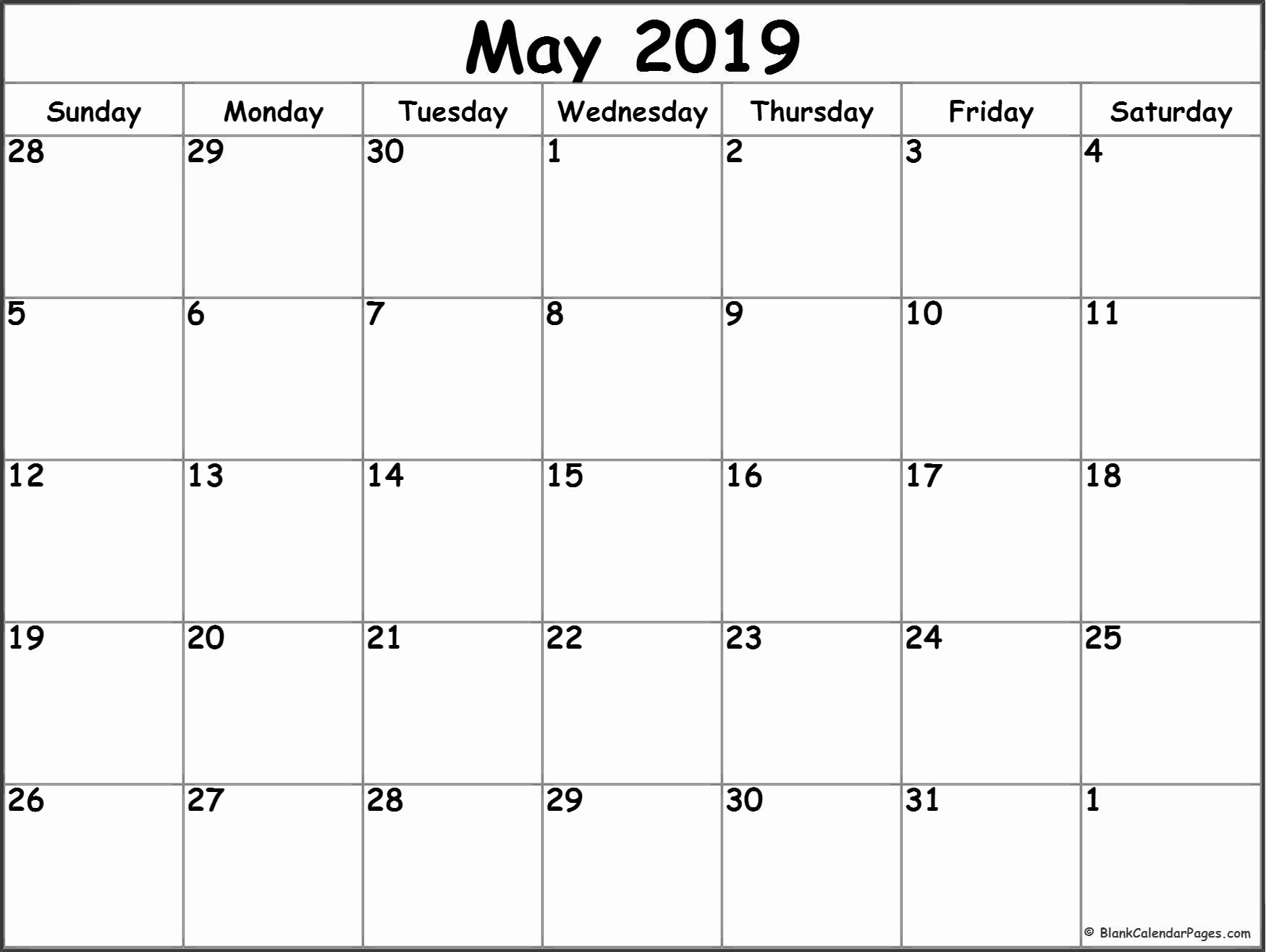 Monthly Calendar Template 2019 Awesome May 2019 Blank Calendar Templates