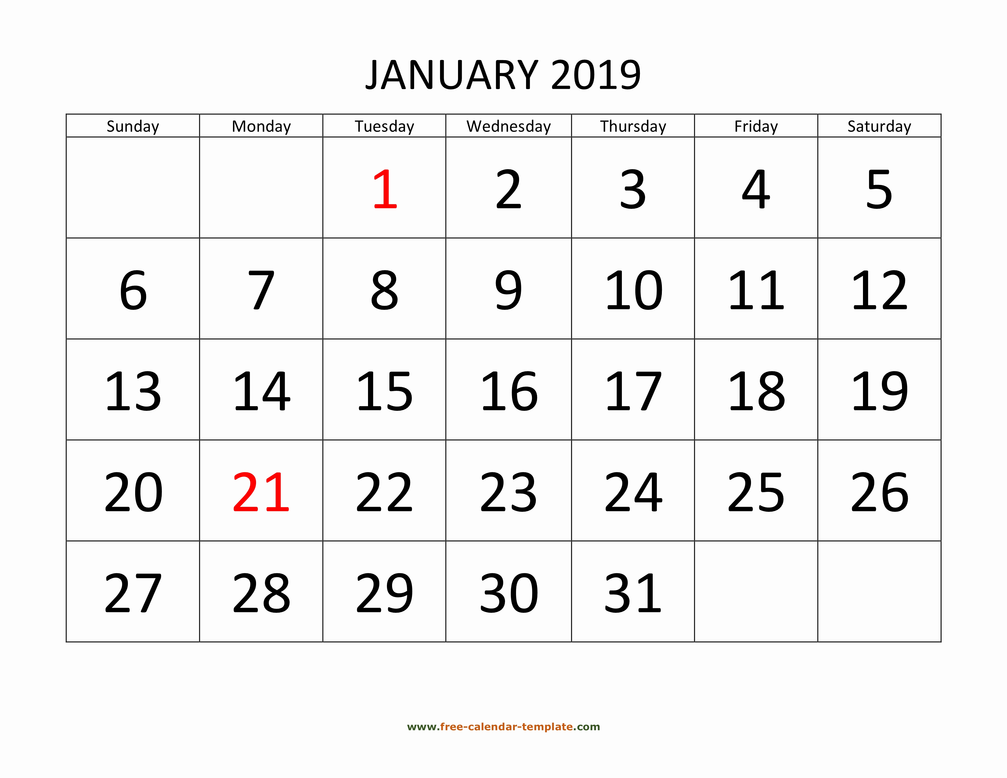 Monthly Calendar Template 2019 Awesome Printable Monthly Calendar 2019