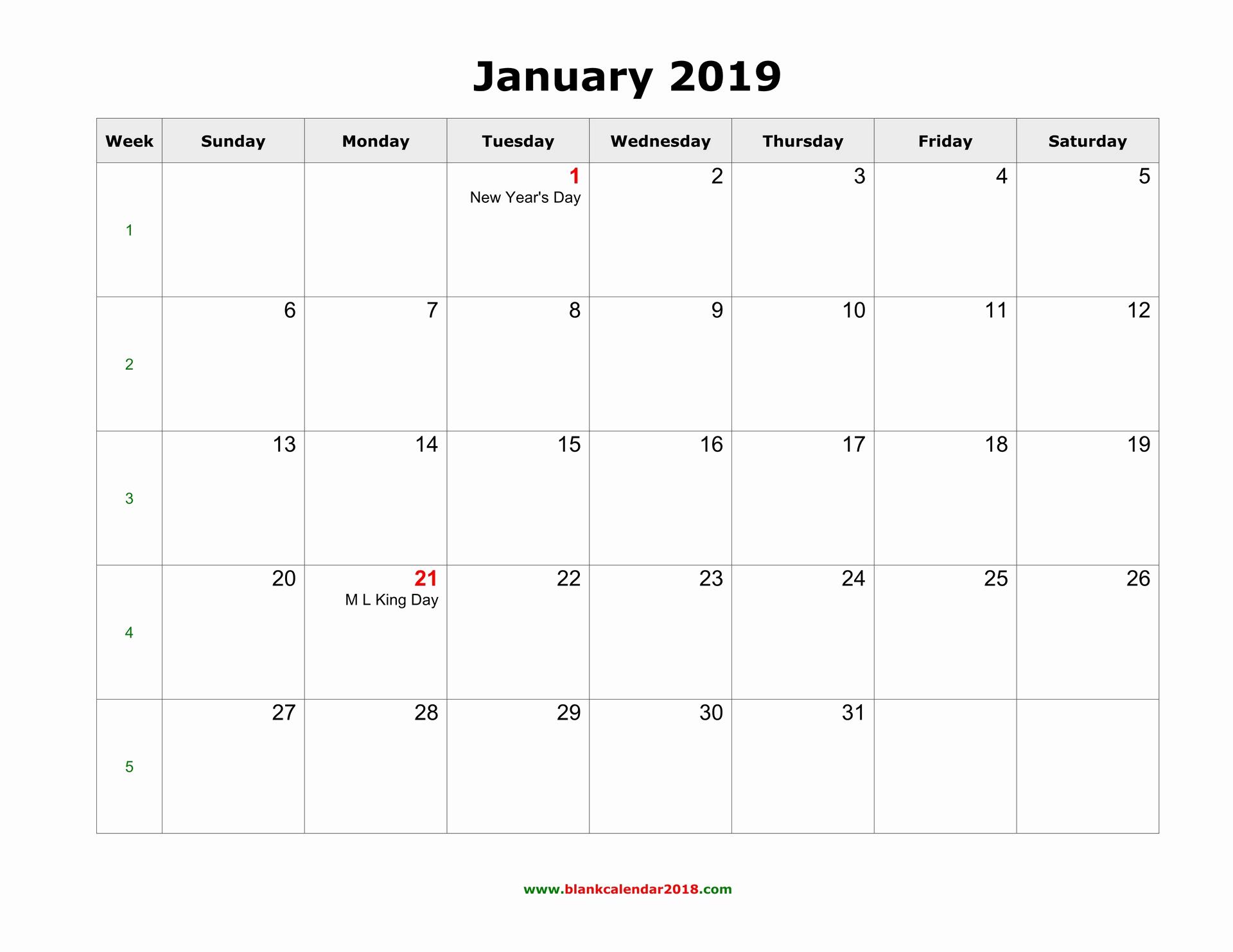 Monthly Calendar Template 2019 Beautiful Blank Calendar 2019