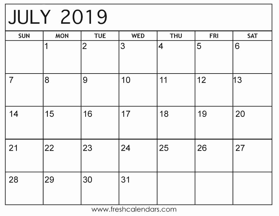 Monthly Calendar Template 2019 Beautiful July 2019 Calendar Printable Fresh Calendars