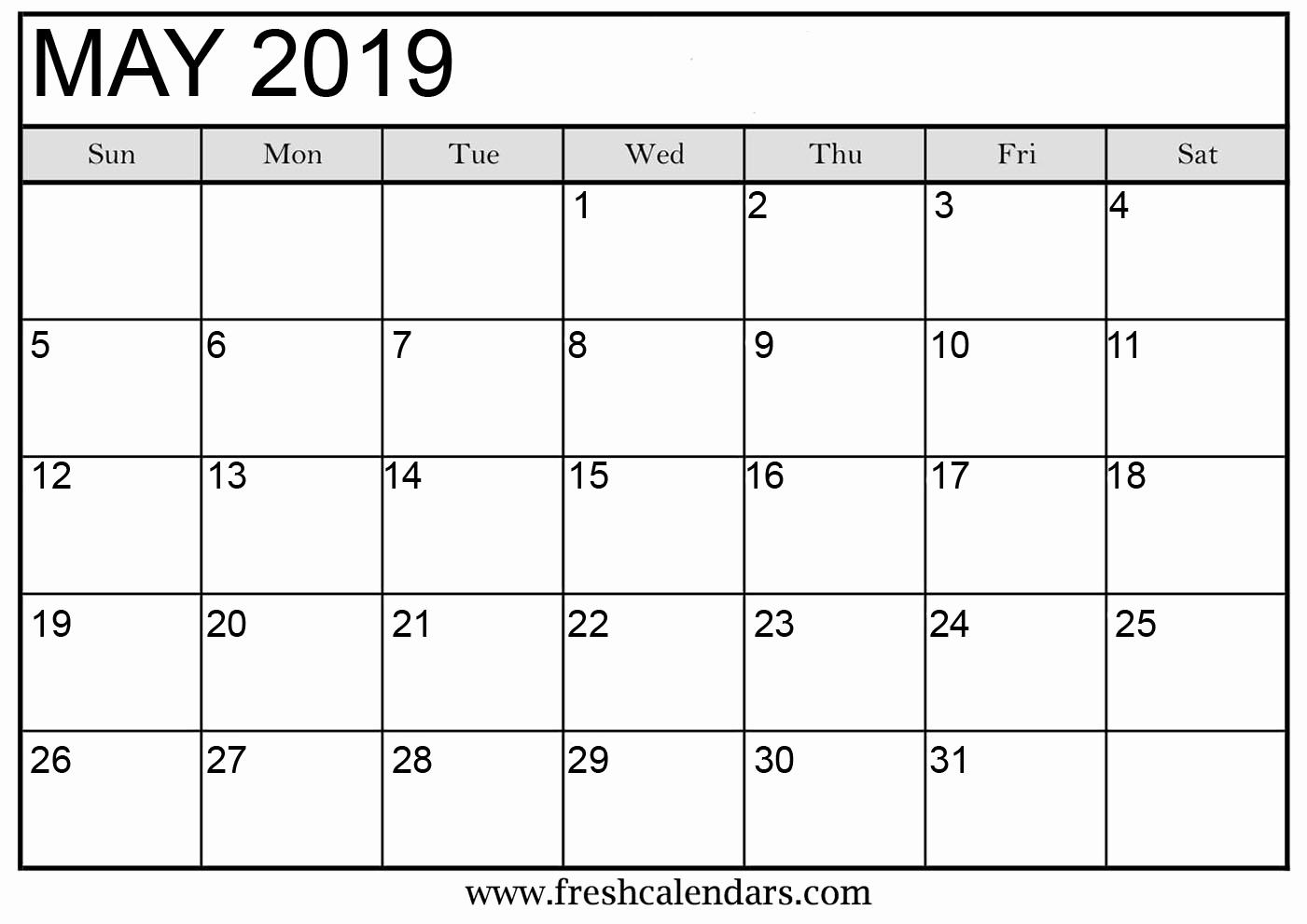 Monthly Calendar Template 2019 Elegant May 2019 Calendar Printable Fresh Calendars