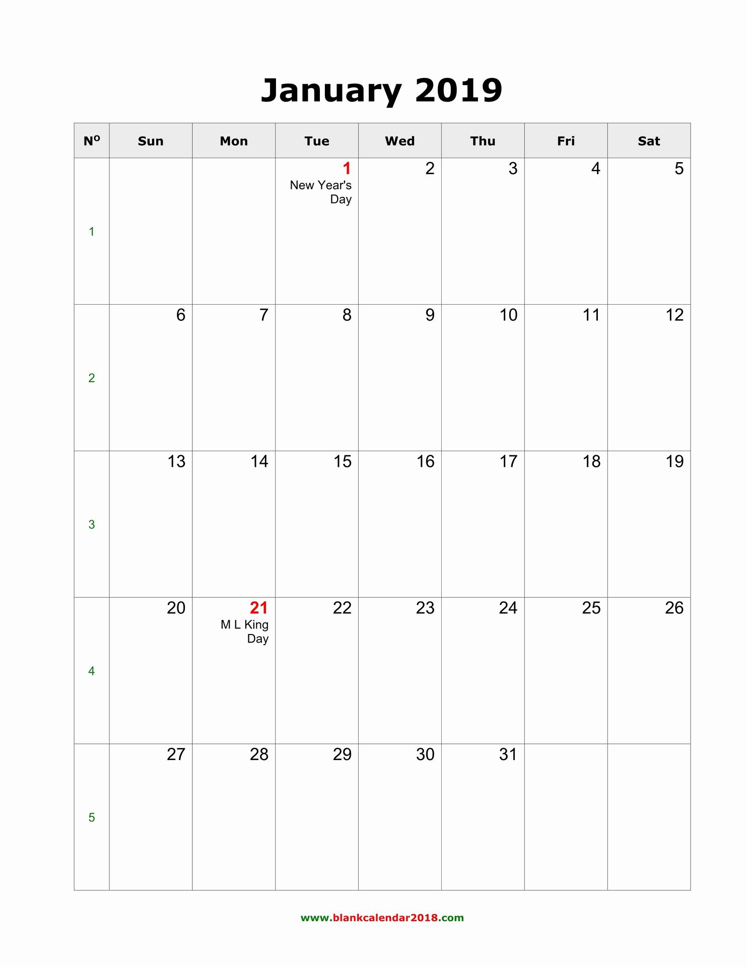 Monthly Calendar Template 2019 Fresh Blank Calendar 2019