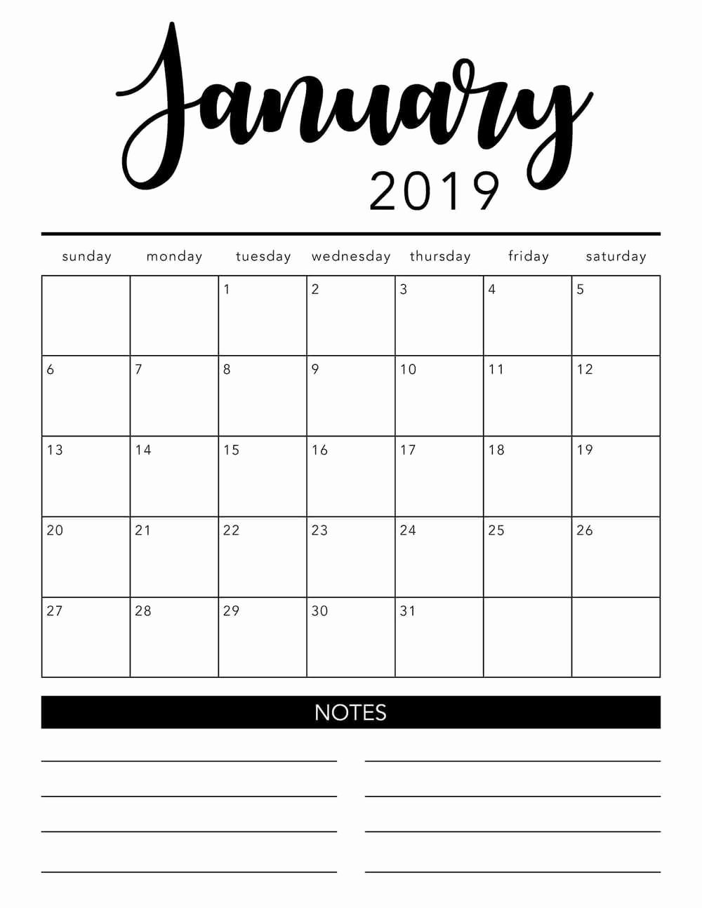 Monthly Calendar Template 2019 Fresh Free 2019 Printable Calendar Template 2 Colors I