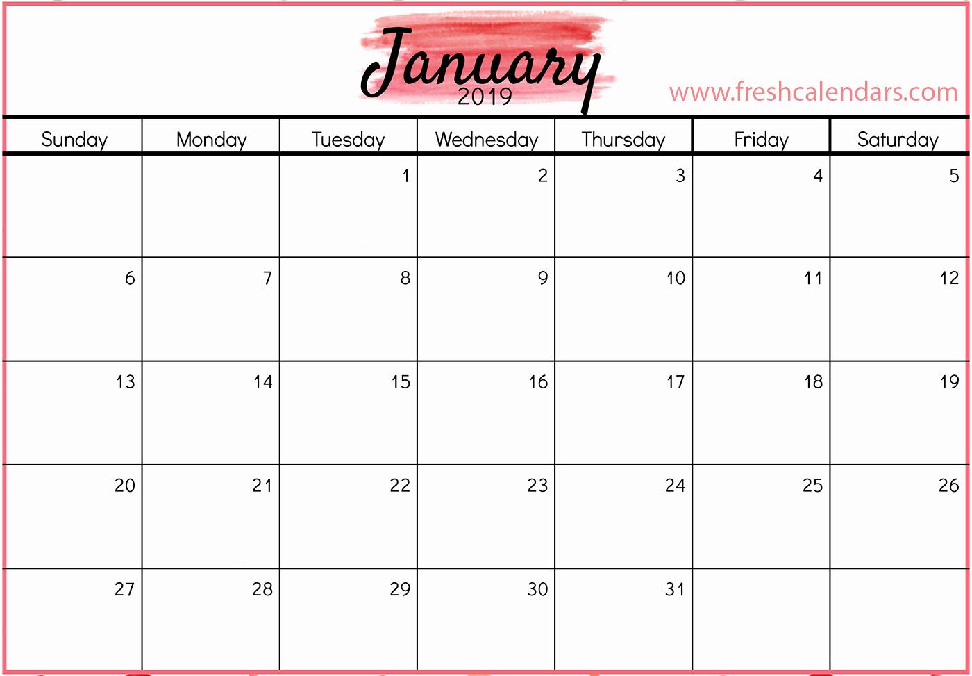 Monthly Calendar Template 2019 Inspirational January 2019 Calendar Printable Fresh Calendars