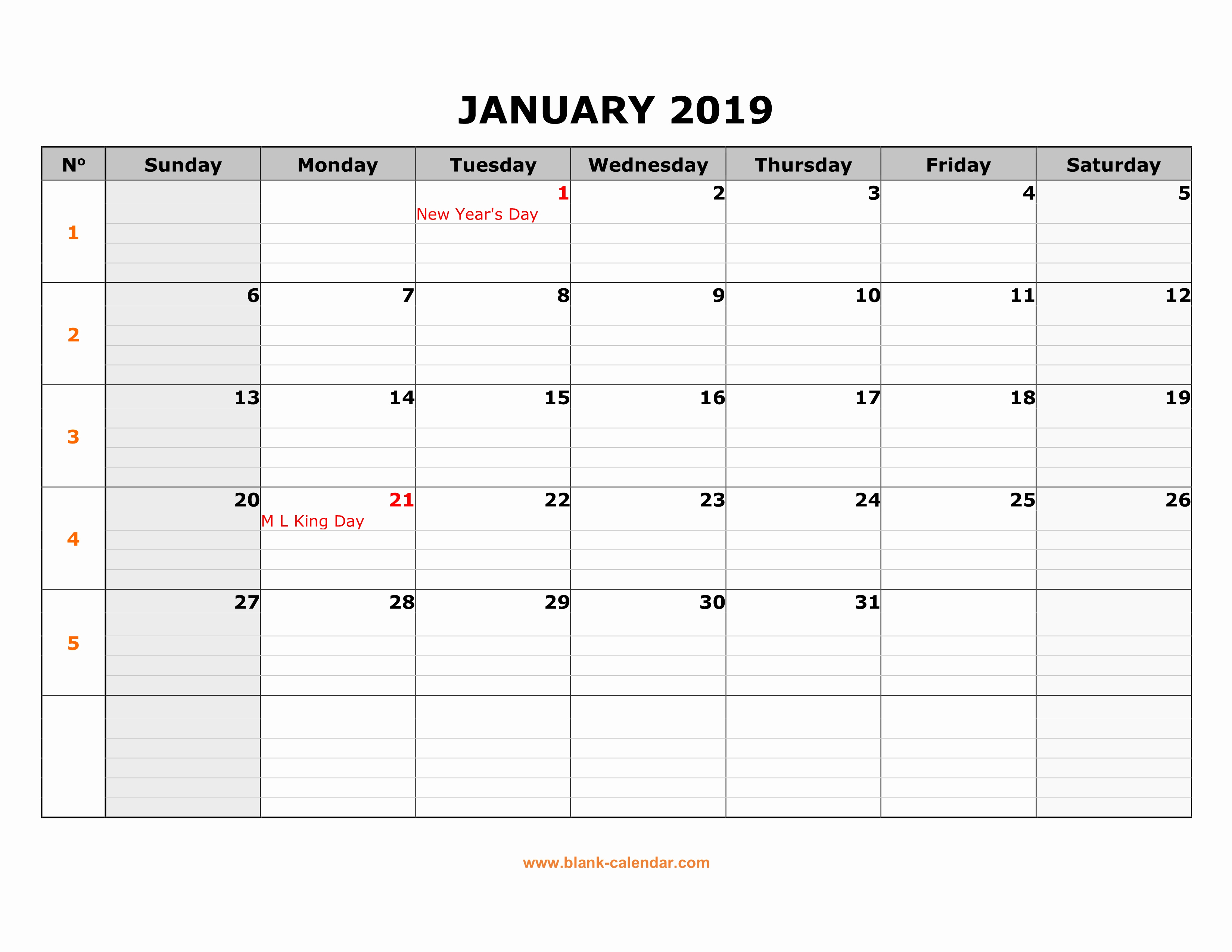 Monthly Calendar Template 2019 Lovely Free Download Printable Calendar 2019 Large Box Grid