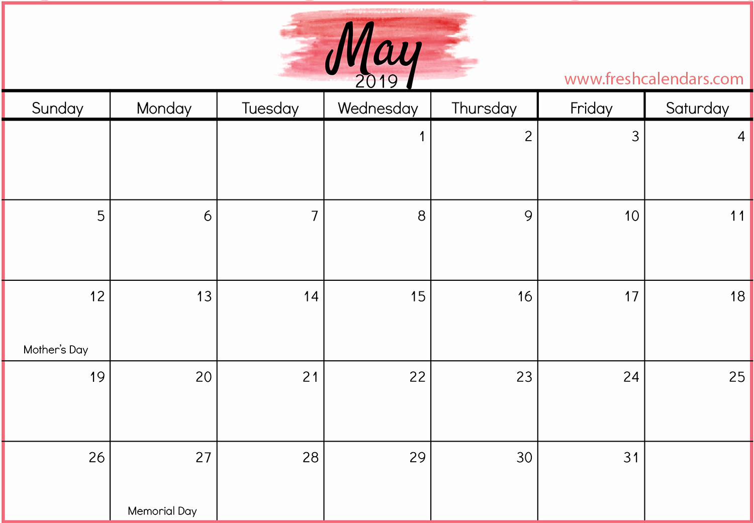 Monthly Calendar Template 2019 Lovely May 2019 Calendar Printable Fresh Calendars